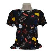 Camiseta T-shirt Feminina Estilosa Colorida Estampada