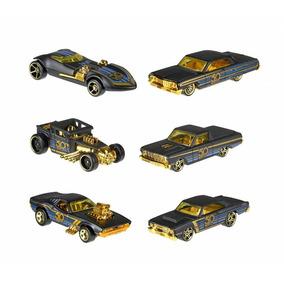 Coleção 50 Anos Preto Dourado Com 6 Hot Wheels - Mattel Frn3
