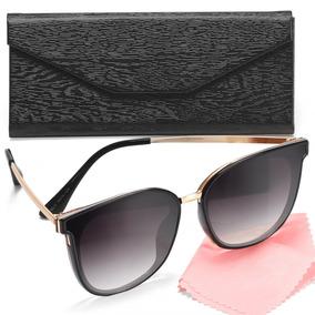 Oculos Sol Feminino Gatinho Lente Proteção Uv Estojo Grátis