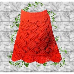 Falda - Pollera Tejida Crochet Con Forro Invierno