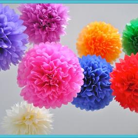 1 Lampara De Papel Diseño Pompones (13 Colores A Elegir)
