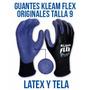 Guantes Klean Flex Originales Talla 9 Tela Y Latex Goma