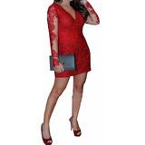 Vestido Renda Relevo Aplique Guipir Manga Tule Festa Vrm108