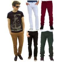 Calça Masculina Jeans Sarja Slim Fit C/ Lycra Moda Homem
