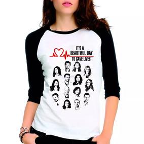 Camiseta Greys Anatomy Beautfiul Day Raglan Babylook 3/4