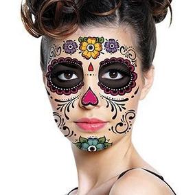 Set D 5 Tatuajes Temporales Catrina Calaveras Dia De Muertos
