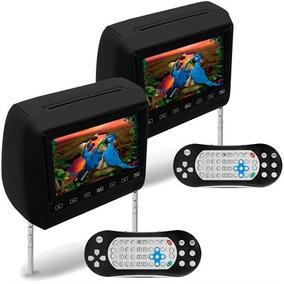 2 Encostos C Tela Prime Preto Lcd 7 Dvd Usb Sd Games Techone