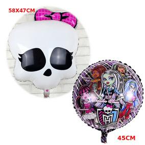 Vareta 50cm + 10un Balão Metalizado Filme Monster High 45cm