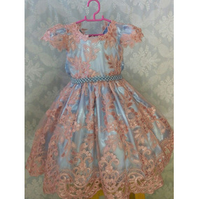 Vestido Infantil Festa Azul E Rosa Aniversário 1 Ano