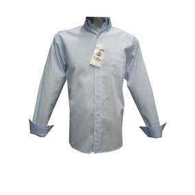Camisa Casual Azul Cielo Con Blanco Rayas Manga Larga