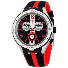 Reloj Swatch Con Rayas Cronógrafo Dial Negro/gris P/hombre