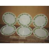 Antigo Jogo De 6 Pratos De Louça Branca Com Desenhos Verdes