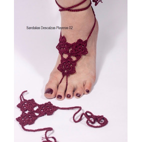 Sandalias Descalzas Playeras-crochet Diseños Y Colores