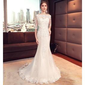 Vl58 Vestido De Noiva Lindo Sereia Cauda Importado Renda