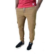 Pantalon Cargo Gabardina Verde Gris Hombre The Big Shop