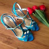 Sandália Salto Alto 9 Cm Shoestock Azul - Tamanho 33