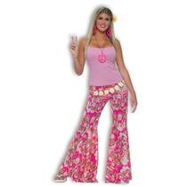 Disfraz De 1970s Pantalones Campana Rosados P/damas Floreado