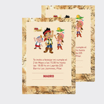 Invitacion Tarjetas Jake Y Los Piratas X10u