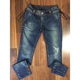 Calça Jeans Zoomp Feminina 40 Azul Rasgado Algodão Poliéster