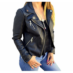 Campera Cuero Eco Costuras Mujer The Big Shop