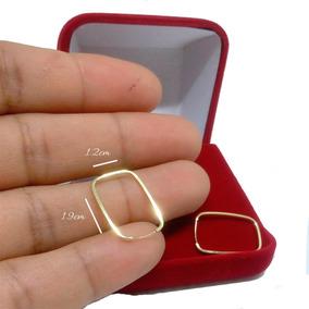 Argola Quadrada Pequena Ouro 18k - Brincos no Mercado Livre Brasil f53ebc62c5