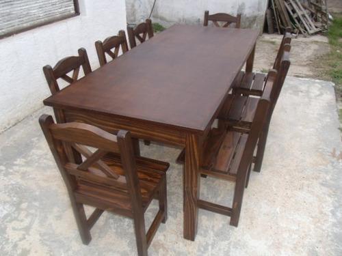 Juego de comedor estilo r stico mesa 2mts x y 8 for Comedores de madera precios