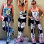 Mujeres Hombro Floral Print Enterizo Dama Playa Short
