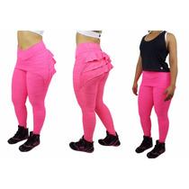 Calça Legging Fitness Com Babado Roupas Academia Ginástica