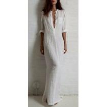 Vestido Estilo Camisão De Linho - Branco - Pronta Entrega