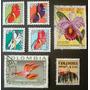 7178 Lote De 12 Selos De Flores Com Selos Da Colombia, Franç
