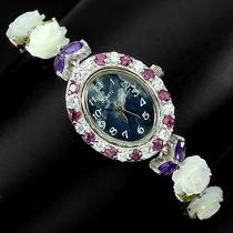 Relógio Feminino Flor Ametistas Peridotos Prata 925