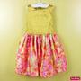 Vestido Infantil Festa Dourado Blusa Paetê E Saia Floral