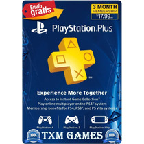 Psn Plus 3 Meses Playstation Ps3 Ps4 Psp Vita Microcentro