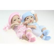 Casal De Gêmeos Bebê Reborn Boneca Real Kit Com 2 28cm Bebe