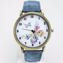 Relógio Feminino Quartzo Analógico Pulseira De Couro Azul