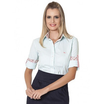 Camisa Estilosa Listrada Verde Feminina Principessa Djessika