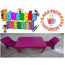 Mesinha Infantil Rosa Com 2 Cadeiras Cadeirinha Mini Mesa