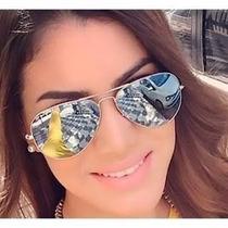 Oculos Rayban Aviador Original Prata Espelhado Lançamento