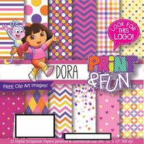 6 Kits Digital Scrapbook Dora Aventureira + Papel Digital