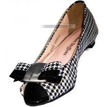 Peep Toe Carmen Steffens Preto Branco Sapatilha Sapato Nº 37