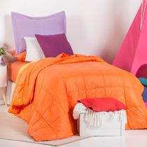 Plumón Ultra Light Liso Twin Arredo Naranja