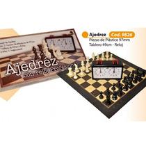 Juego De Ajedrez Piezas De Plastico Con Reloj Profesional