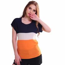Blusa Casual De Gasa Tricolor Moda Asiatica Talla Grande
