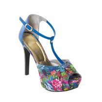 Sapato Sandalia Anabela Peep Toe Salto Plataforma Floral
