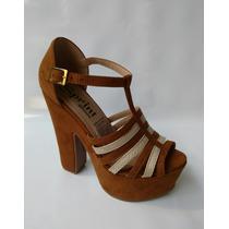 Calzado Plataforma Tacon Moda Mujer Dama Color Marron Zapato