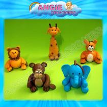 5 Animalitos De La Selva Porcelana Fria Souvenirs Cumpleaños