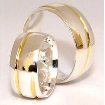 Alianças Prata 950 Um Friso De Ouro 18k Compromisso E Namoro