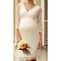 Vestidos Gestante Casamento Civil Simples Renda Grávida V