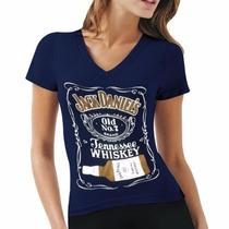 Blusa Camiseta Baby Look Feminina Jack Daniels Whiskey Azul