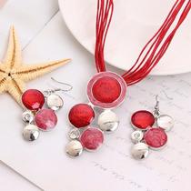 Joyería Conjunto Collar Y Aretes Bolitas Rojas- Cs020